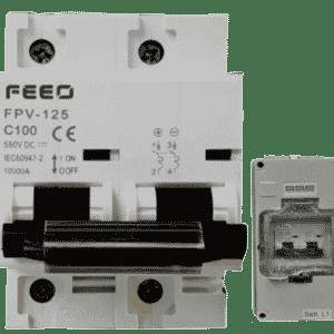 DC Trennschalter FEEO FPV-125 100A 550VDC + IP66 Gehäuse